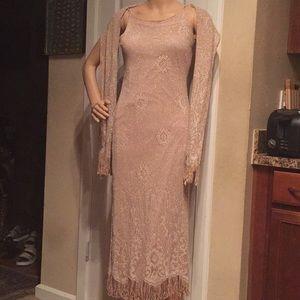 2-piece Sparkly midi dress and scarf